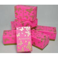 Buy cheap beautiful shiny pink paper watch box with printed gold butterflies from wholesalers