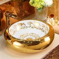 Buy cheap China manufacturer modern high quality bathroom wholesale ceramic golden new decal round countertop basin sink for sale from wholesalers