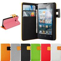 Buy cheap Orange Flip Leather Cover Mobile Phone Cases with Magnet For Huawei Ascend Y300 from wholesalers