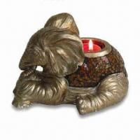 Buy cheap Polystone Elephant T-light Holder with Mosaic, Measuring 7-1/2 x 5 x 4-1/2-inch from wholesalers