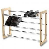 Buy cheap Wooden Frame Shoes Home Display Rack With 3 Layers Expand Iron Chrome Tube from wholesalers