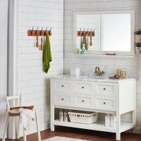 China Bathroom hotel  cabinet floor standing new design American style white color modern vanity with mirror on sale