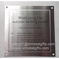 Buy cheap Satin brushed stainless steel warning sign plate with screw holes, from wholesalers