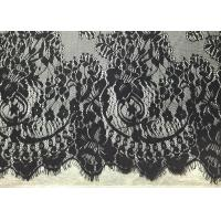 Buy cheap Black Width 60 Nylon Embroidered Eyelash Lace Trim with Knitted / Jacquard from wholesalers