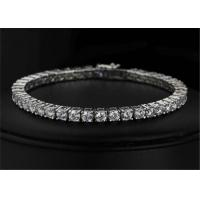 Buy cheap Handcrafted Sterling Silver Bangle Bracelet Clear CZ Rhinestone Crystal Bangle Bridal Bracelet from wholesalers