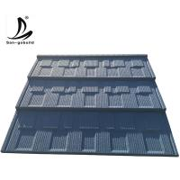 Buy cheap Hangzhou factory price aluminium zinc steel plate material blue color stone chips metal roofing sheets from wholesalers