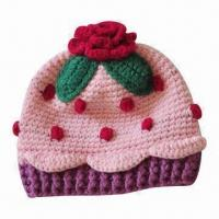 Buy cheap Children's Winter Crochet Hat in Beautiful Style and Flower Pattern from wholesalers