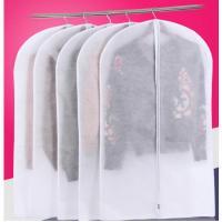 White Reusable Eco Suit Protector Garment Bag , Portable Hanging Dress Bag