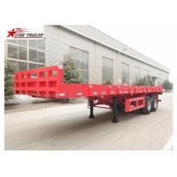 Buy cheap 9.5 Meters 2 Axles Long Flatbed Trailer , Semi Truck Lightweight Flatbed Trailer product