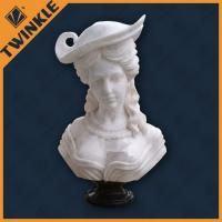 China Natural Carved White Marble Garden Ornaments Sculpture For Lady Head Statue on sale