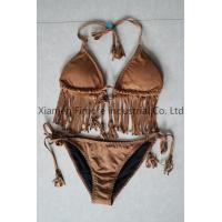 Buy cheap Suede Fabric Sexy Lady's two pieces brown swimming suit with wire cup from wholesalers