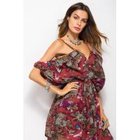 Buy cheap Summer Hot Sale New Design strap dress off the shoulder bat sleeve printed skirt from wholesalers