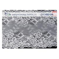 White Stretchy Cotton Nylon Lace Fabric Trim For Wedding Dress CY-HB0198