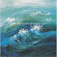 China Contemporary Abstract Handmade Art Painting Sea Wave, Strectched Canvas Wall Art on sale