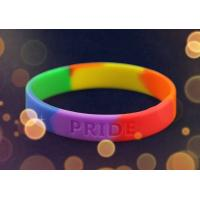 Buy cheap Personalised Silicone Bracelet Wristband Rainbow Color For School Gift from wholesalers