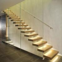 Buy cheap Indoor wood stairs white wood steps, tempered glass railing ,straight floating staircase for villa from wholesalers