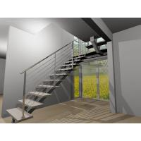 Buy cheap Stainless steel center stringer straight solid wood staircase with glass balustrade product