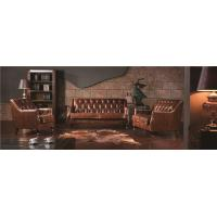Buy cheap Retro Top Grain Soft Leather Sofa , Brown Leather Couch SetWith Back Buttons from wholesalers