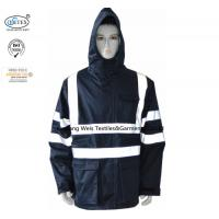China Protective Navy Blue Flame Retardant Jacket With Reflective Tape and Hood on sale