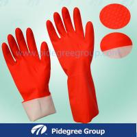 Buy cheap Dipped Flock Lined PVC Household Gloves Red Durable Contour Shape from wholesalers