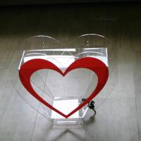 Buy cheap Heart Shape Acrylic Donation Box W/ Lock Clear Charity Plexiglass Donation Box from wholesalers