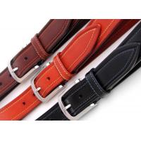 Buy cheap Zinc Alloy Buckle Mens Leather Dress Belt  Contrast Color Stitching Width 3.5cm from wholesalers