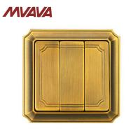 Buy cheap MVAVA Luxury Bronzed Wall Switch 16A 110-250V Decorative 3 Gang Electrical Light Push Button light Switch from wholesalers