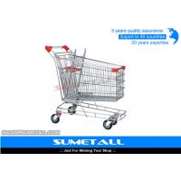 China Metal Supermarket Shopping Trolley Wheel Lock 240L / Shopping Cart For Groceries on sale