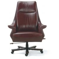 Buy cheap Brown leather boss swivel Chair with armrest and 5 star legs and nylon catser with grade A sponge  BS6037C from wholesalers