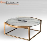 Buy cheap Ash Wood Square Base Modern Dining Room Round Marble top Coffee Tables from wholesalers