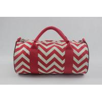 Buy cheap Large Casual Canvas Travel Shoulder Handbag Red And White Color With Custom Logo product