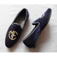 Buy cheap Stylish Embroidered Mens Blue Suede Loafers , Elegance / Fashion Velvet Slip On Shoes from wholesalers