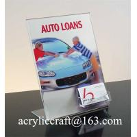 Buy cheap Clear slant acrylic brochure holder for instruction leaflet with name card holder from wholesalers