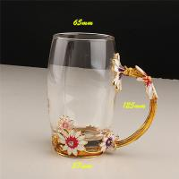 Buy cheap Creative Handmade Home Decoration Enamel Daisy Flower Crystal Glass Water Coffee Tea Cup from wholesalers