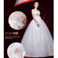 Buy cheap Hot Sale High Waist Beading Bra Straps Lace Flower Shoulder Wedding Train Dresses from wholesalers