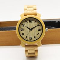 Buy cheap 2018 fashionable design maple wood band with butterfly buckle copper hands men wooden wristwatch with waterproof from wholesalers