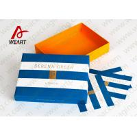 Buy cheap Hot Stamped Blue Foil Recycled Cardboard Gift Boxes With Lids Stripped Pattern from wholesalers