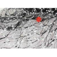 Buy cheap Stretch Polyester Guipure Lace Fabric , Black And White 3D Floral Mesh Fabric from wholesalers