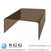 Buy cheap Excellence quality smokey brown square bent glass coffee table from wholesalers