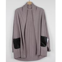 Buy cheap Wool Poncho Womens Chunky Sweaters With Leather Pocket Grey from wholesalers