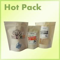 China Organic Kraft Paper Stand Up Pouches With Zipper And Window For Snack / Chia Seed on sale
