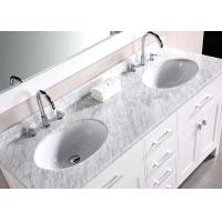 Buy cheap White Natural Calacatta Marble Countertops Bath Double Sink Vanity Top from wholesalers