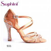 Buy cheap Suphini high quality satin with rhinestones woman salsa dance sandal high heel shoes from wholesalers