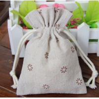 Buy cheap Flower Print Cotton Drawstring Bag,Fashion Linen Dot Pattern Canvas Small Cute Gift Bag from wholesalers
