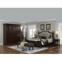 Buy cheap Sandalwood Bedroom set Classic style BT-2902 High fabric Upholstered headboard Wooden king size bed with Cloth Wardrobe from wholesalers