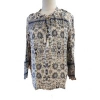 Buy cheap Long Sleeve Lace-up Ruffles Women's Blouse and Top, Floral Print O-Neck Shirt for Ladies from wholesalers