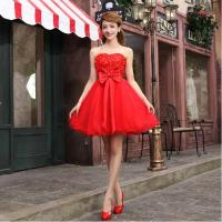 Buy cheap Free Shipping 2014 Red A-Line Flower Lace Short Bride And Bridesmaid Dress Bridal Formal Gown from wholesalers
