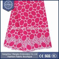 Buy cheap Fushia pink with silver double organze lace fabric decorated rhinestones from wholesalers