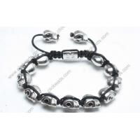 Buy cheap Adjustable Shamballa Bracelet, Rhodium Plated Alloy Skull Beads from wholesalers