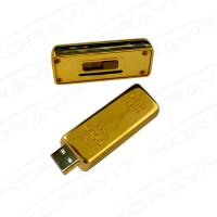 Golden Bar Metal USB Flash Drive, Graceful Bank Gifts Flexible Memory Stick Hard Box Pack